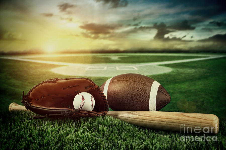 Baseball  Bat  And Mitt In Field At Sunset Photograph