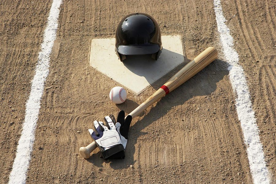Horizontal Photograph - Baseball, Bat, Batting Gloves And Baseball Helmet At Home Plate by Thomas Northcut