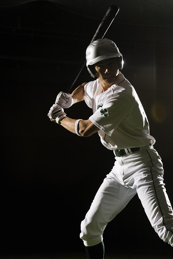 Baseball Batter In Batting Stance, Close-up Photograph