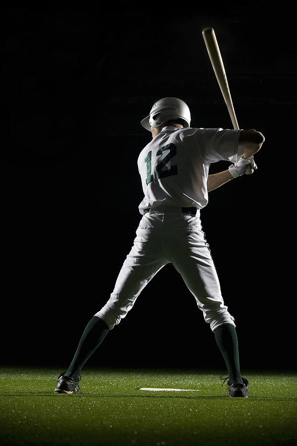 Baseball Batter In Batting Stance, Rear View Photograph