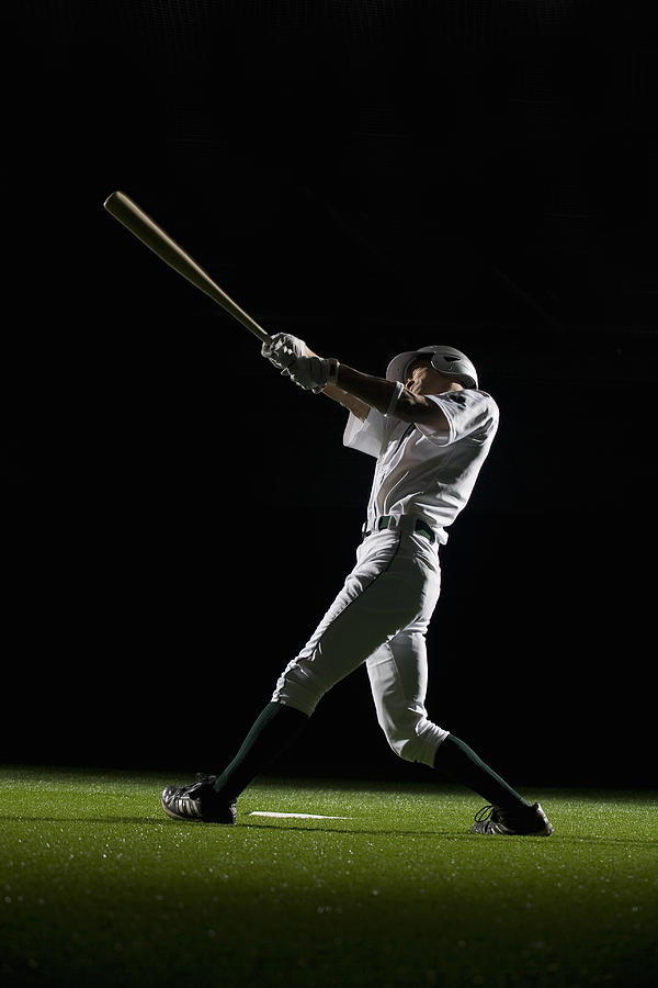 Baseball Batter Swinging Bat, Side View Photograph