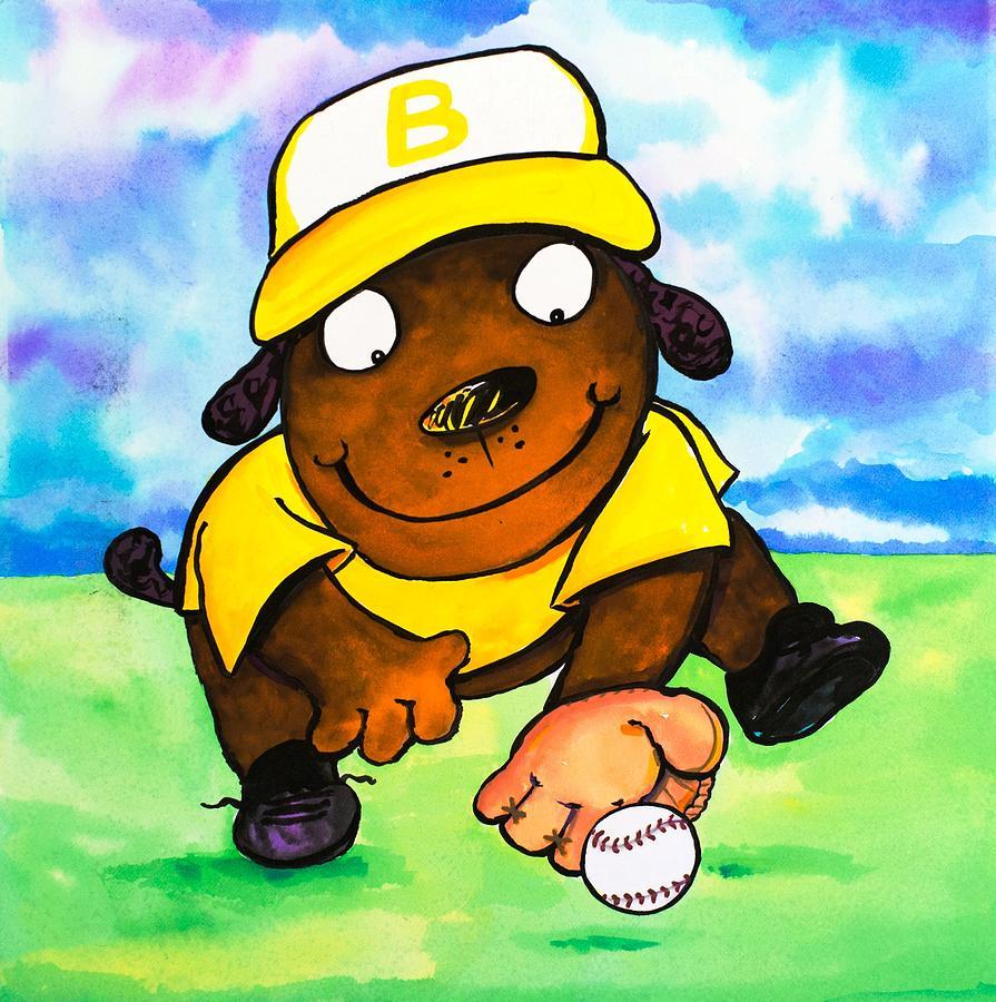 Dog Painting - Baseball Dog 3 by Scott Nelson