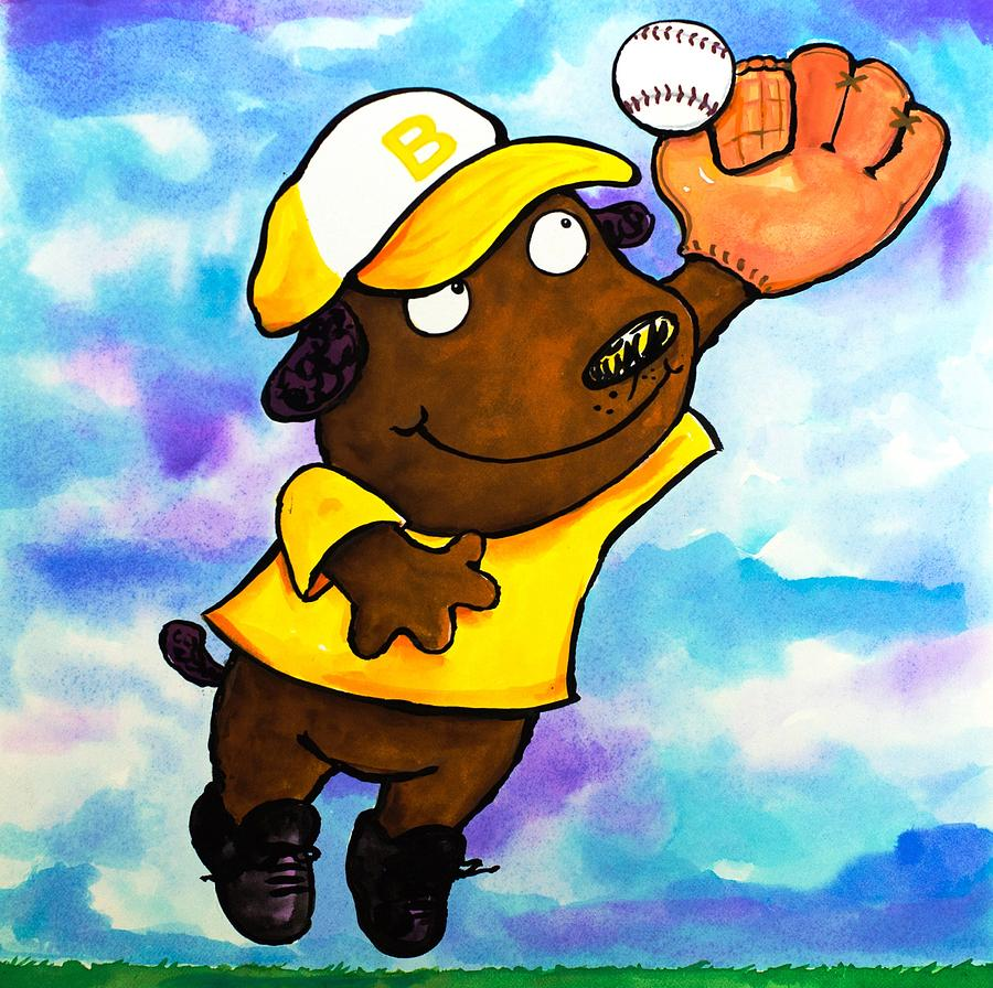 Baseball Dog 4 Painting  - Baseball Dog 4 Fine Art Print