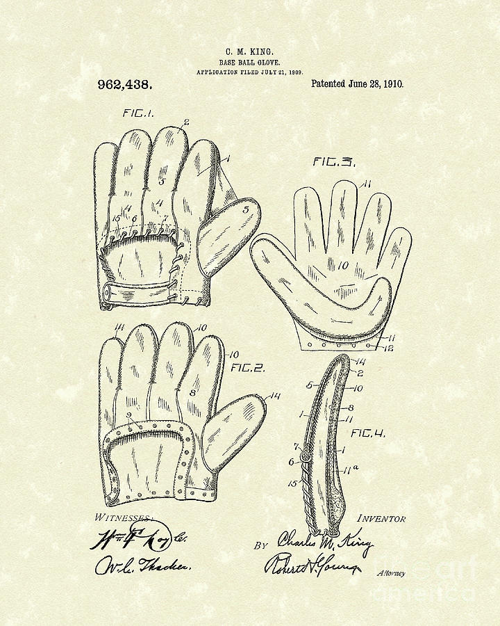 Baseball Glove 1910 Patent Art Drawing  - Baseball Glove 1910 Patent Art Fine Art Print