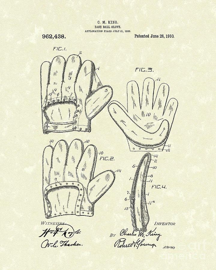 Baseball Glove 1910 Patent Art Drawing