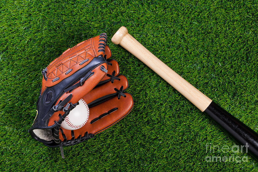 Baseball Glove Bat And Ball On Grass Photograph