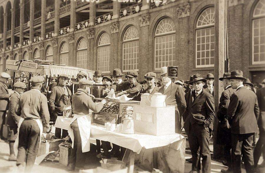 1920s Candid Photograph - Baseball. Hot Dog Vendors Sell To Fans by Everett