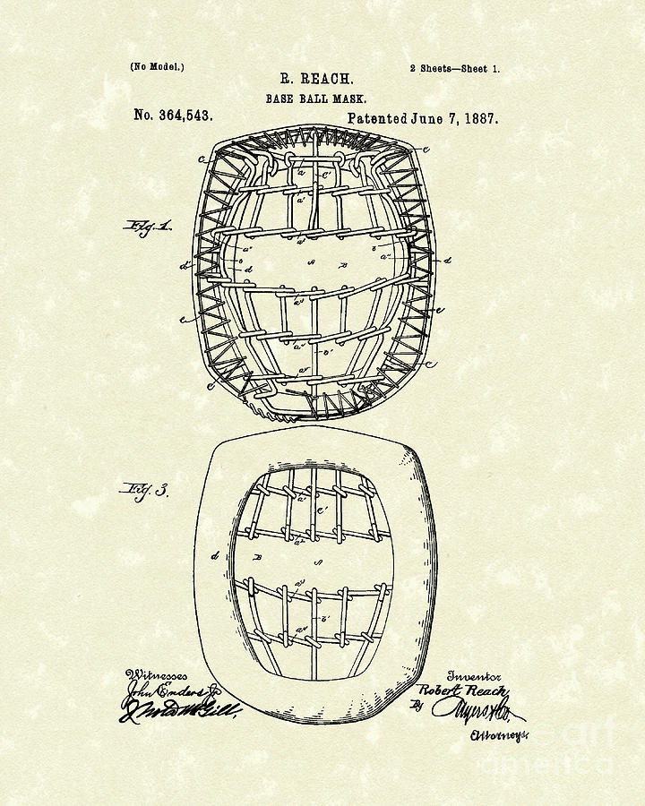 Baseball Mask 1887 Patent Art Drawing  - Baseball Mask 1887 Patent Art Fine Art Print
