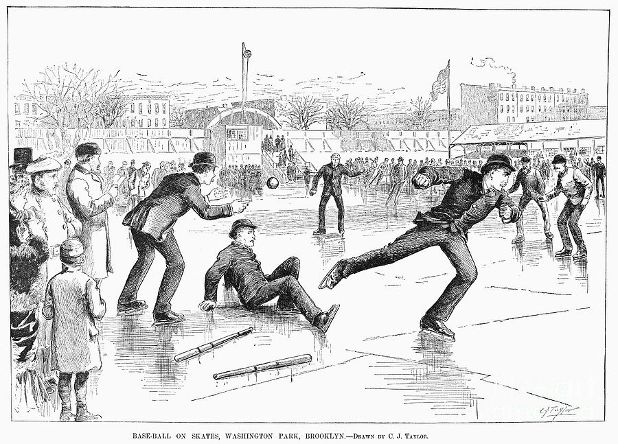 Baseball On Ice, 1884 Photograph