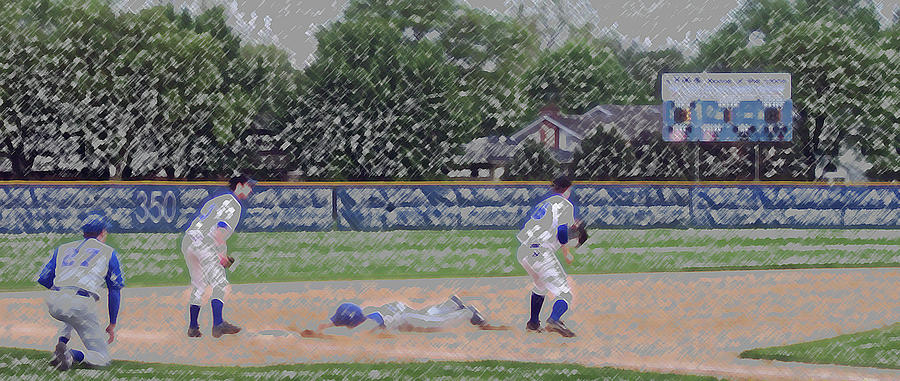 Baseball Playing Hard Digital Art Digital Art  - Baseball Playing Hard Digital Art Fine Art Print