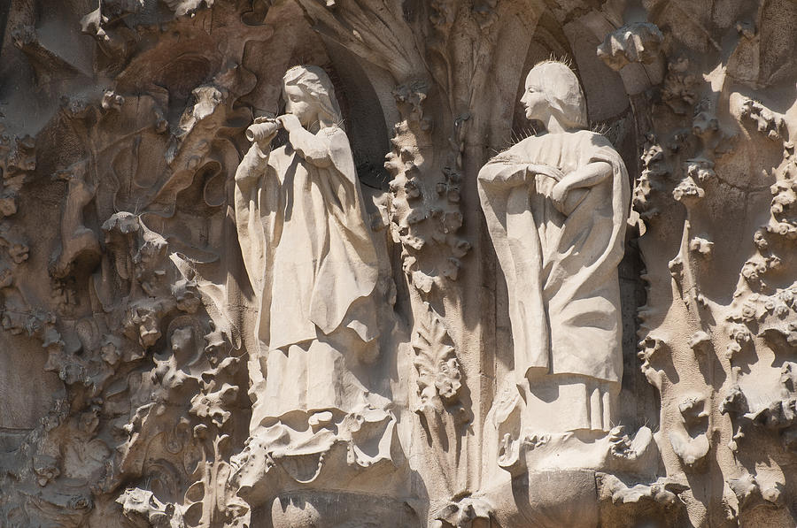 Basilica Sagrada Familia Nativity Facade Detail Photograph  - Basilica Sagrada Familia Nativity Facade Detail Fine Art Print