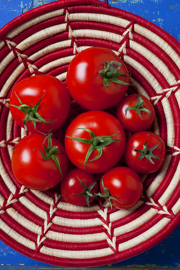 Basket Full Of Red Tomatoes  Photograph