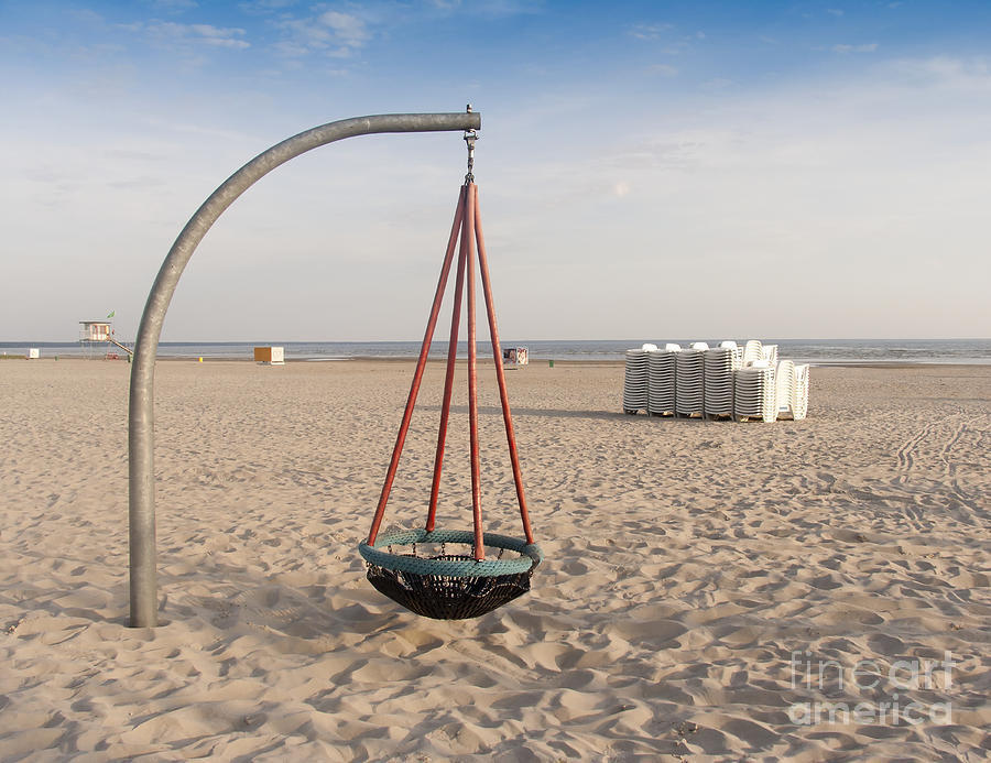 Basket Swing On The Beach Photograph  - Basket Swing On The Beach Fine Art Print