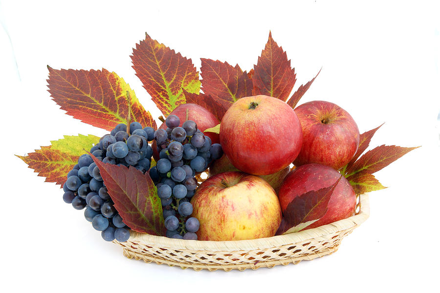 Basket With Apples And Grapes is a photograph by Aleksandr Volkov ...