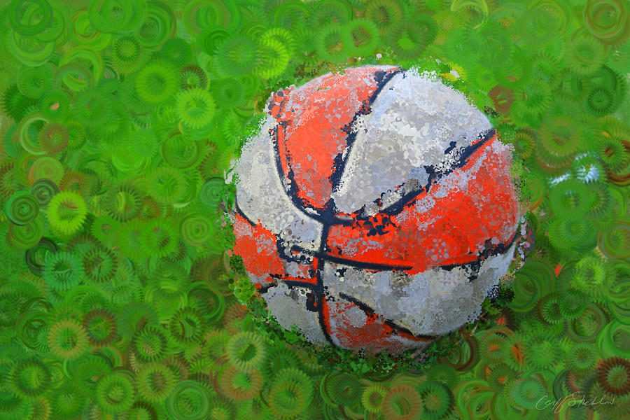 Basketball Orange White Green Abstract Digital Art  - Basketball Orange White Green Abstract Fine Art Print