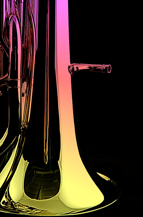 Bass Tuba Isolated On Black Photograph  - Bass Tuba Isolated On Black Fine Art Print