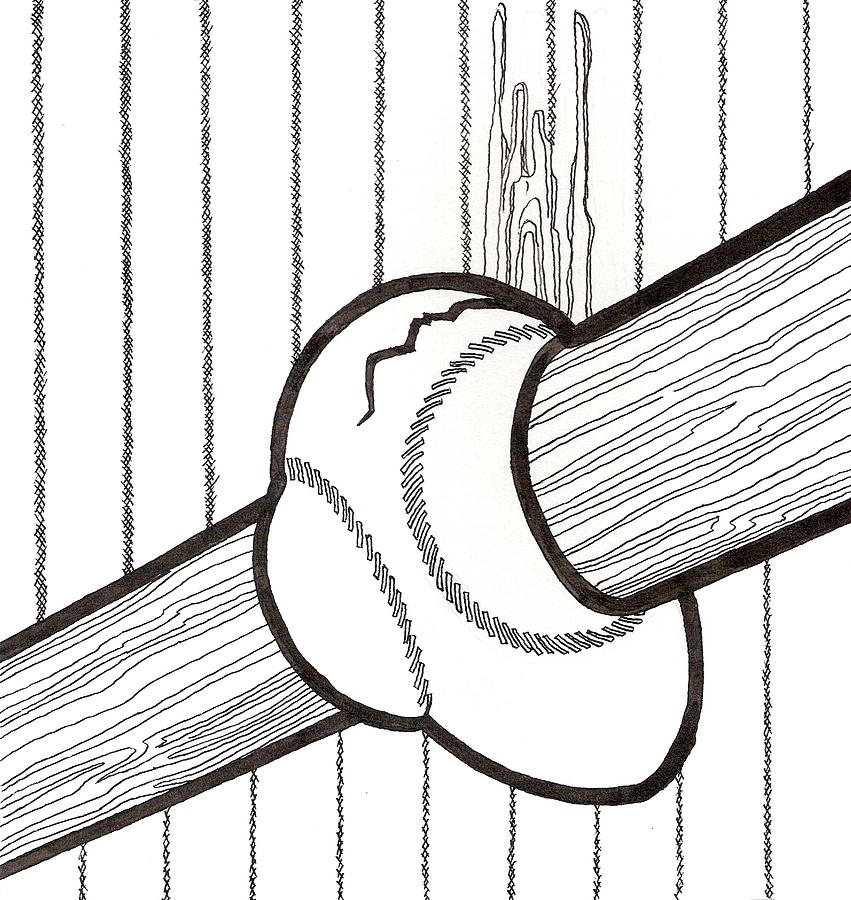 Bat And Ball Egg Drawing  - Bat And Ball Egg Fine Art Print