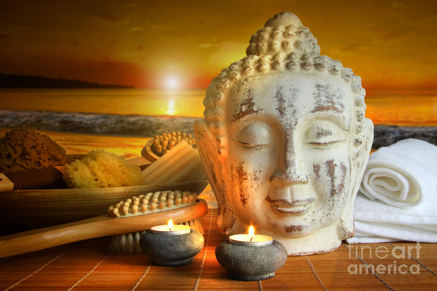 Bath Accessories With Buddha Statue At Sunset Photograph  - Bath Accessories With Buddha Statue At Sunset Fine Art Print