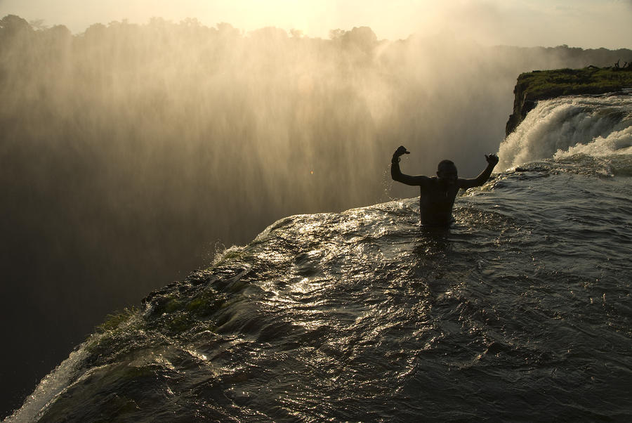 Bathing In A Swimming Hole At The Top Photograph