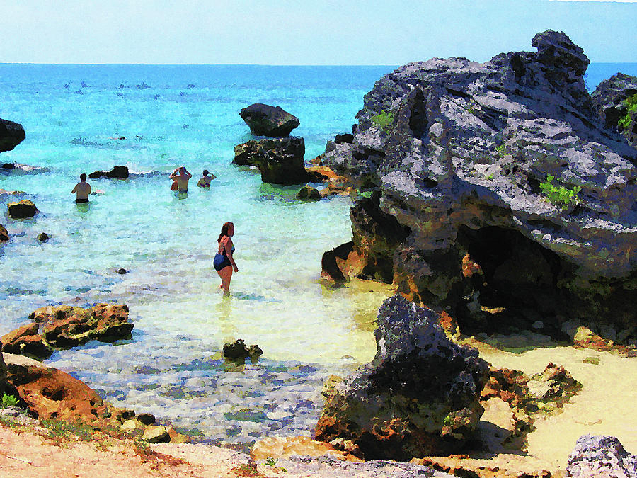 Bathing In The Ocean St. George Bermuda Photograph  - Bathing In The Ocean St. George Bermuda Fine Art Print