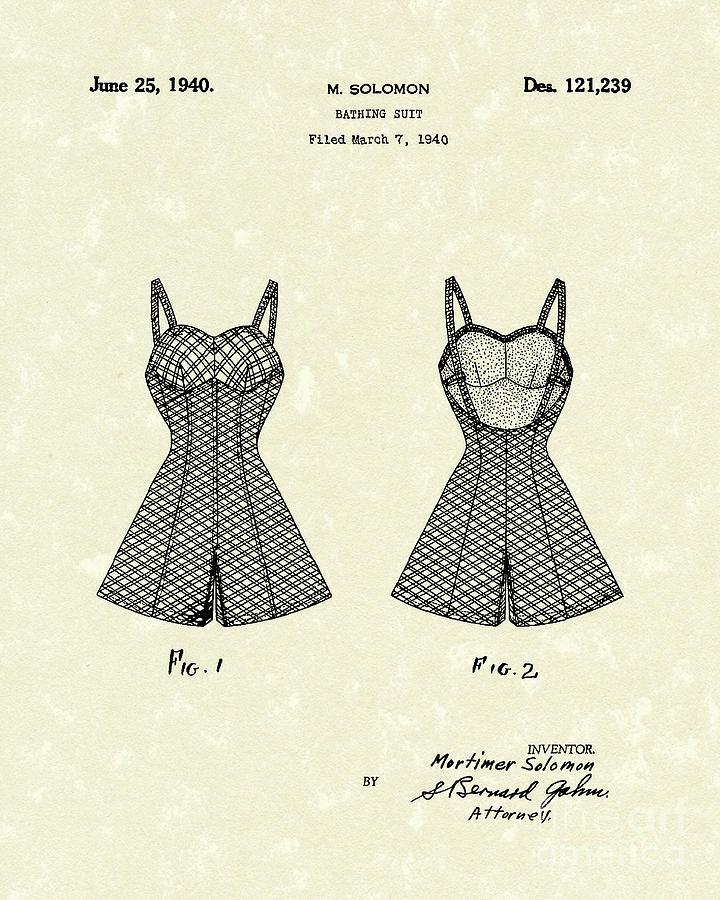 Bathing Suit 1940 Patent Art Drawing  - Bathing Suit 1940 Patent Art Fine Art Print
