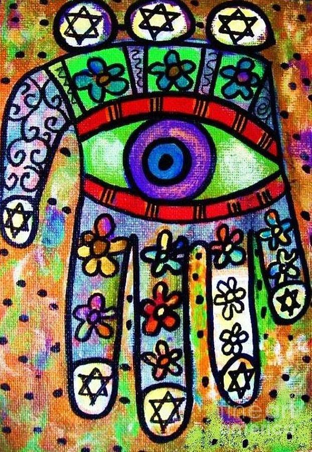 Batik Painting - Batik Garden Oasis Hamsa by Sandra Silberzweig