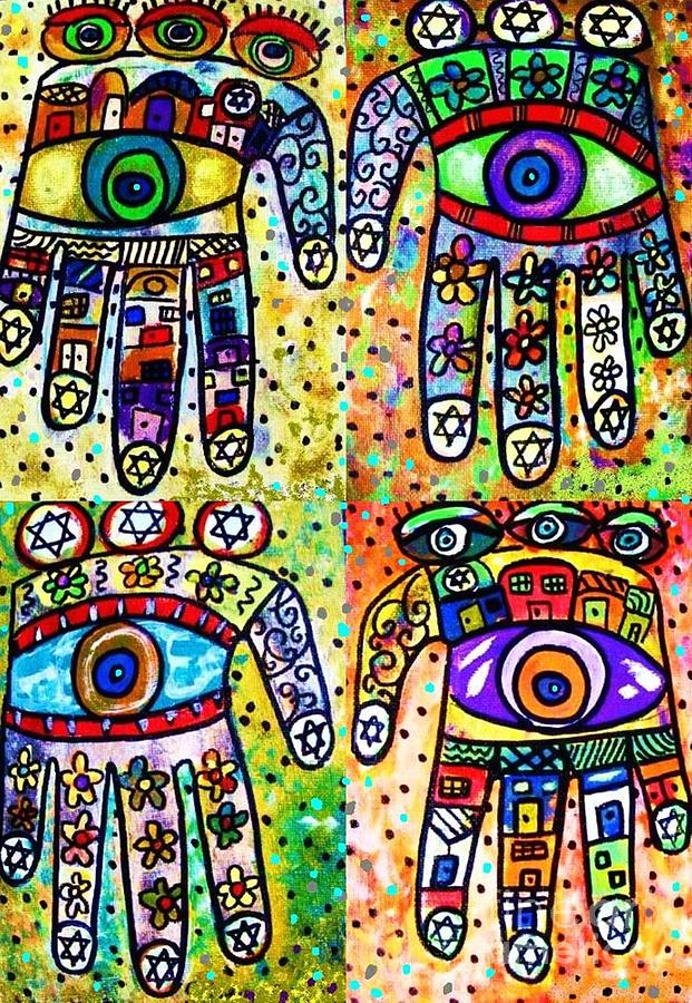Batik Painting - Batik Judaica Hamsa by Sandra Silberzweig