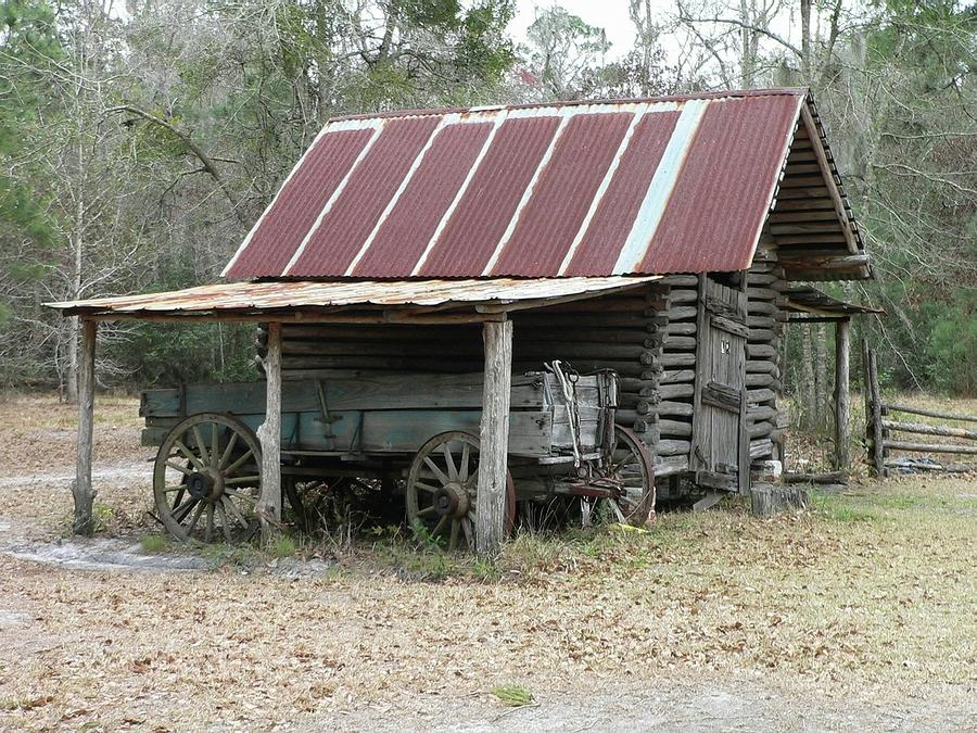 Battered Barn And Weathered Wagon Photograph