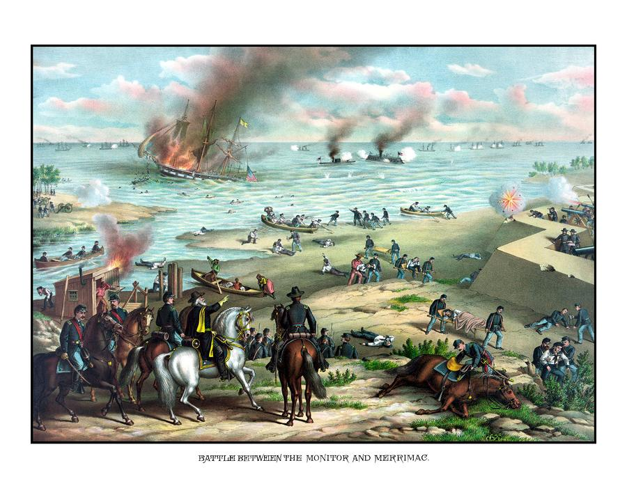 Battle Between The Monitor And Merrimac Painting