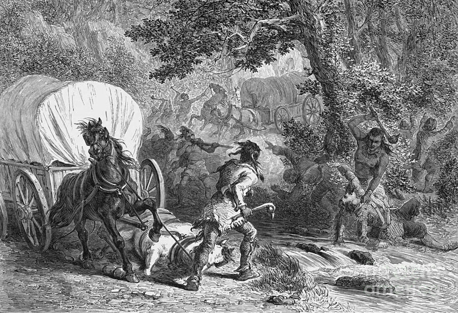 American Indian Photograph - Battle Of Bloody Brook 1675 by Photo Researchers
