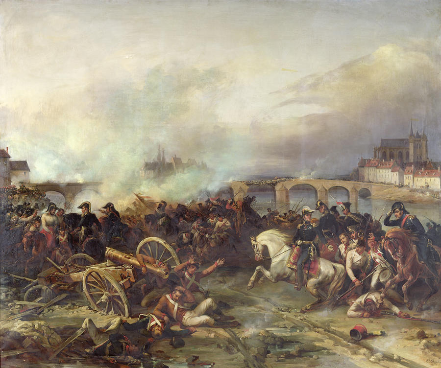 Battle Of Montereau Painting  - Battle Of Montereau Fine Art Print