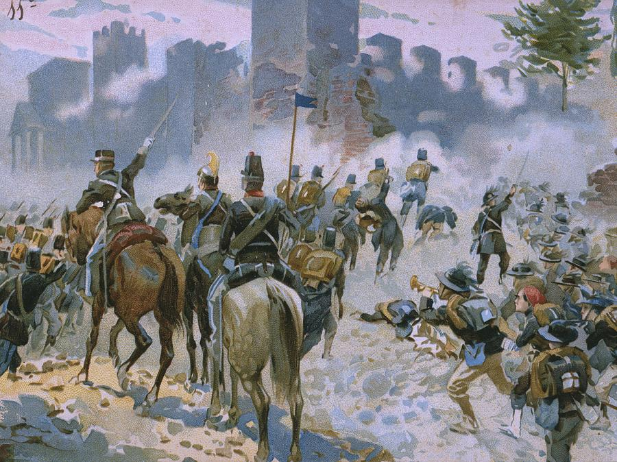 Male; Soldier; Soldiers; Army; Uniform; Military; Horse; Horses; Cavalry; Infantry; Bugler; Charge; Smoke; Nationalist; Nationalists; War; Italian Unification; Tower; Walls; City Painting - Battle Of Solferino And San Martino by Italian School