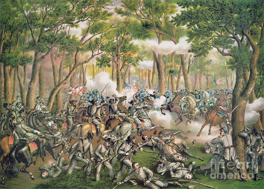Troops; Soldiers; Army; Engagement; Woodland; Rural; Cavalry; Horseback; U S; U S A; Forces; Engaging; Gunfire; Fallen; Wounded Painting - Battle Of The Wilderness May 1864 by American School