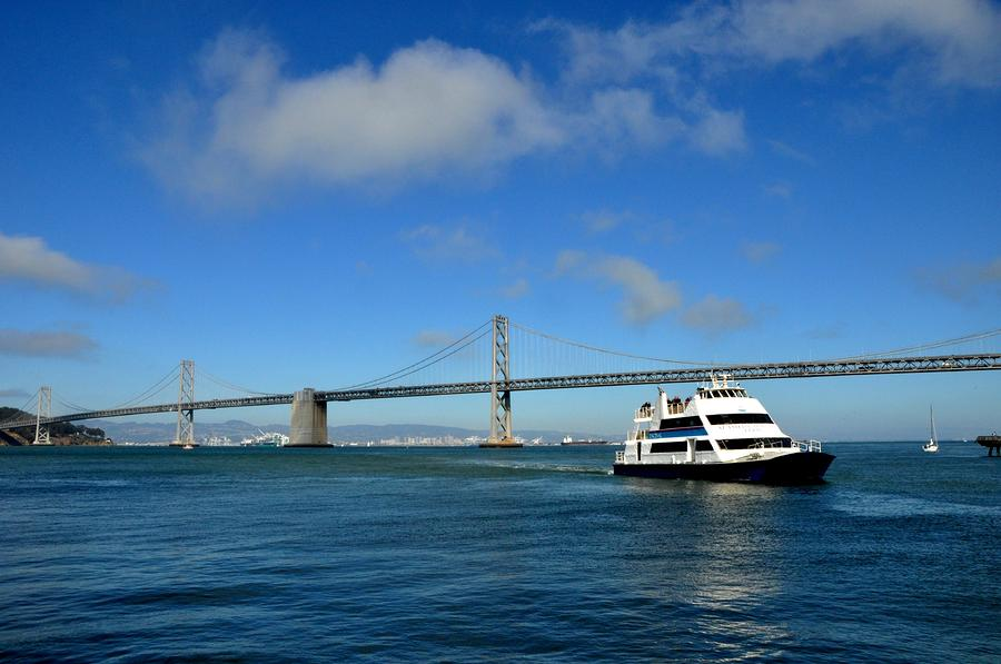 Bay Bridge Ship San Francisco Tapestry - Textile  - Bay Bridge Ship San Francisco Fine Art Print