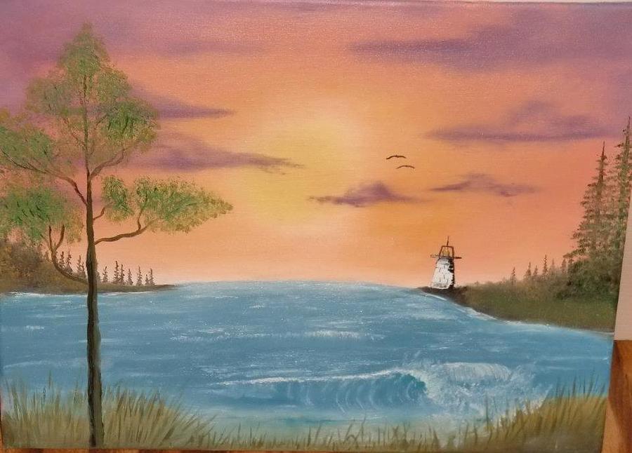 Sunset Painting - Bay Sunset by Nick Ambler