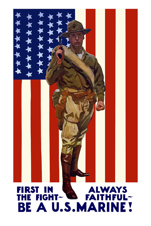 Be A Us Marine Painting  - Be A Us Marine Fine Art Print