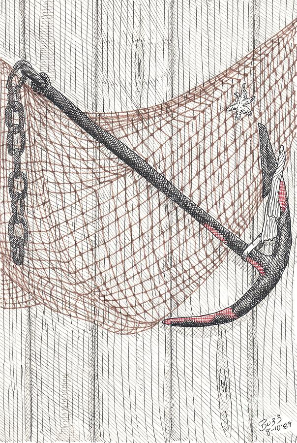 Beach Anchor And Net. Drawing  - Beach Anchor And Net. Fine Art Print