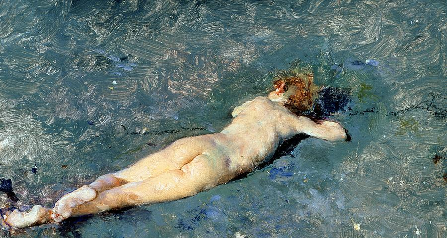 Nude Painting - Beach At Portici by Mariano Fortuny y Marsal
