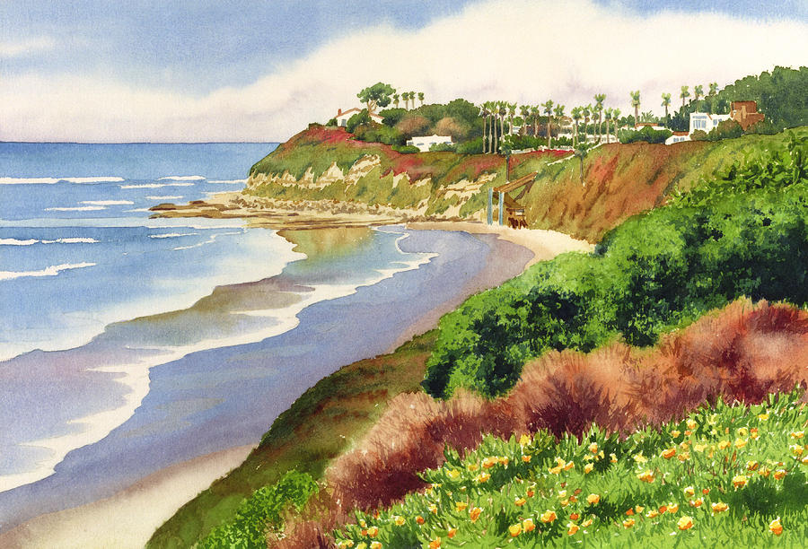 Beach At Swamis Encinitas Painting  - Beach At Swamis Encinitas Fine Art Print