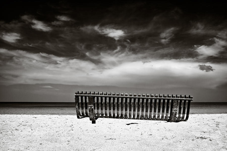 Beach Bench Photograph  - Beach Bench Fine Art Print