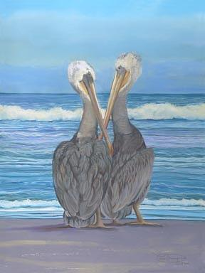 Beach Buddies Canvas Giclee Print Pastel