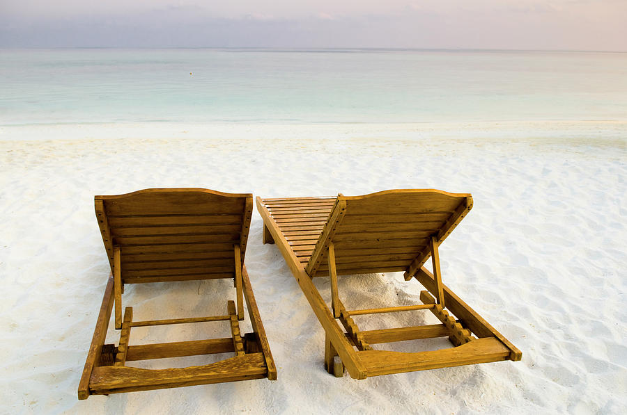 Horizontal Photograph - Beach Chairs, Maldives by Ulana Switucha