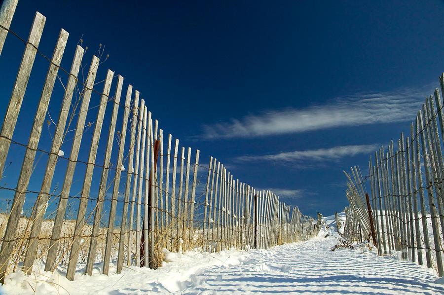 Beach Fence And Snow Photograph