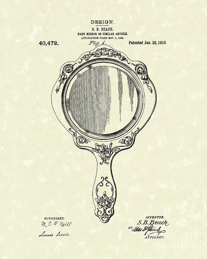 Beach Hand Mirror 1910 Patent Art Drawing  - Beach Hand Mirror 1910 Patent Art Fine Art Print