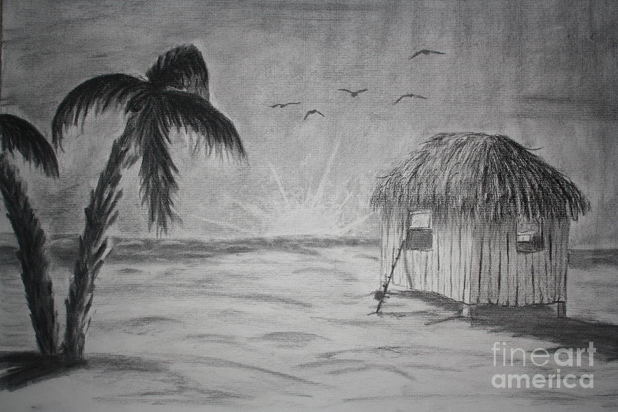 Easy beach pencil drawing the image kid for Beach house drawing