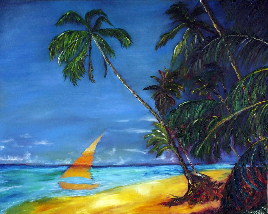Beach Palm Sailboat Painting  - Beach Palm Sailboat Fine Art Print