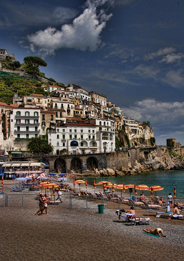 Beach Scene In Amalfi On The Amalfi Coast In Italy Photograph  - Beach Scene In Amalfi On The Amalfi Coast In Italy Fine Art Print