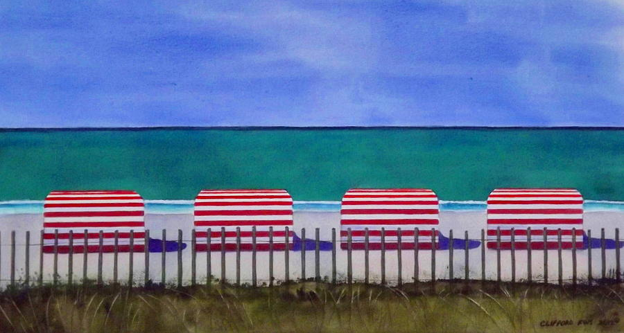 Beach Stripes Painting  - Beach Stripes Fine Art Print