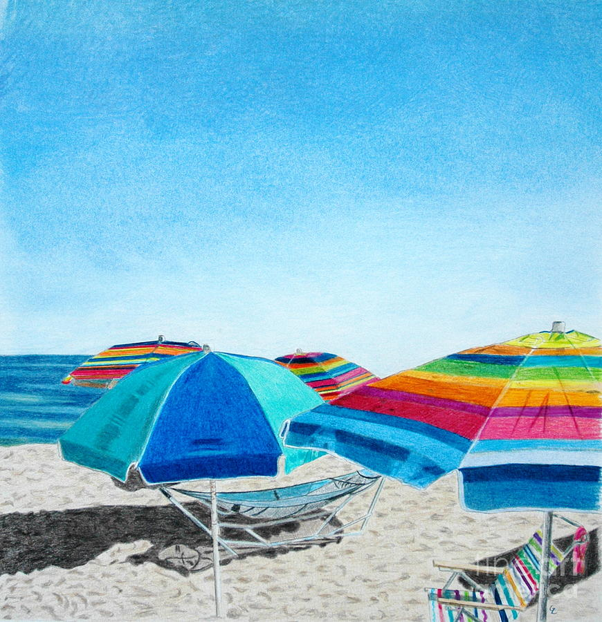 Beach Umbrellas Drawing  - Beach Umbrellas Fine Art Print