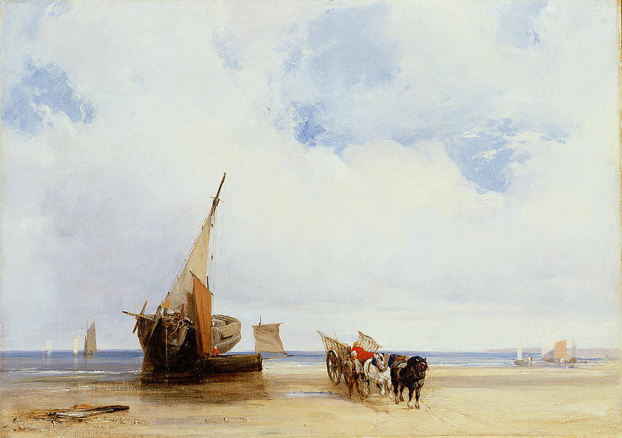 Beached Vessels And A Wagon Near Trouville Painting  - Beached Vessels And A Wagon Near Trouville Fine Art Print